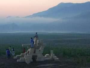 In 2017 we returned to Anji, planting the effigy and temple on the dry lakebed